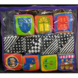 Conjunto de cubos em tecido